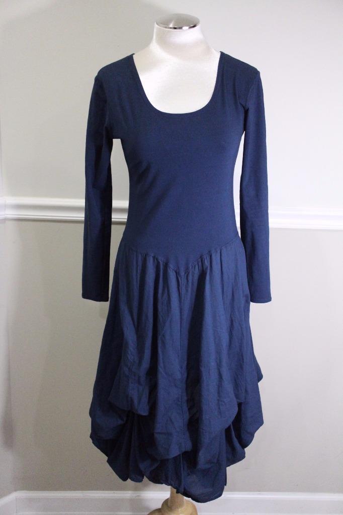 LUNALUZ-Women-039-s-Navy-Blue-Stretch-Flow-Dress-Size-29-M-DR900