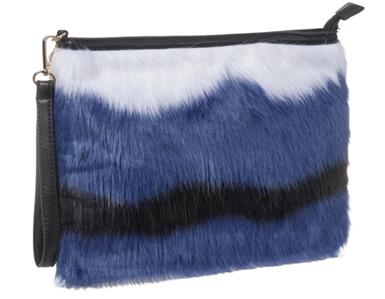 Las Black Faux Fur Handbags