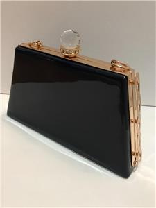 Ladies Crystal Top Trapezoid Shape Patent Clutch Bags Shoulder Bag Girls Purse