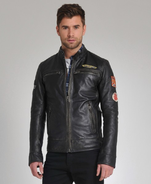 Superdry scrambler leather jacket