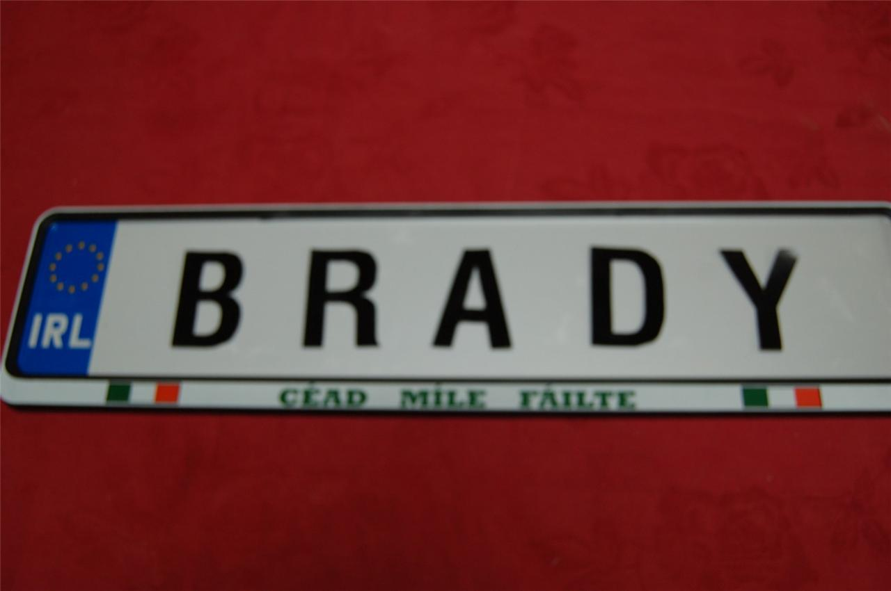 Wood to Young Family name on real IRISH DRIVING LICENSE PLATE Plaque