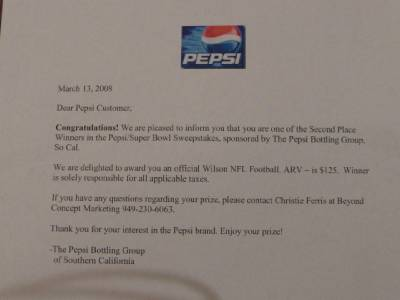 Details about Official NFL Game Football & Collectors Pepsi Super Bowl  Limited Edition Prize