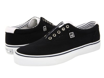 7f3f152f8a Black Sperry Shoes on Sperry Top Sider Striper Laceless Black Knit Mens  Shoes Sz 10 Ebay