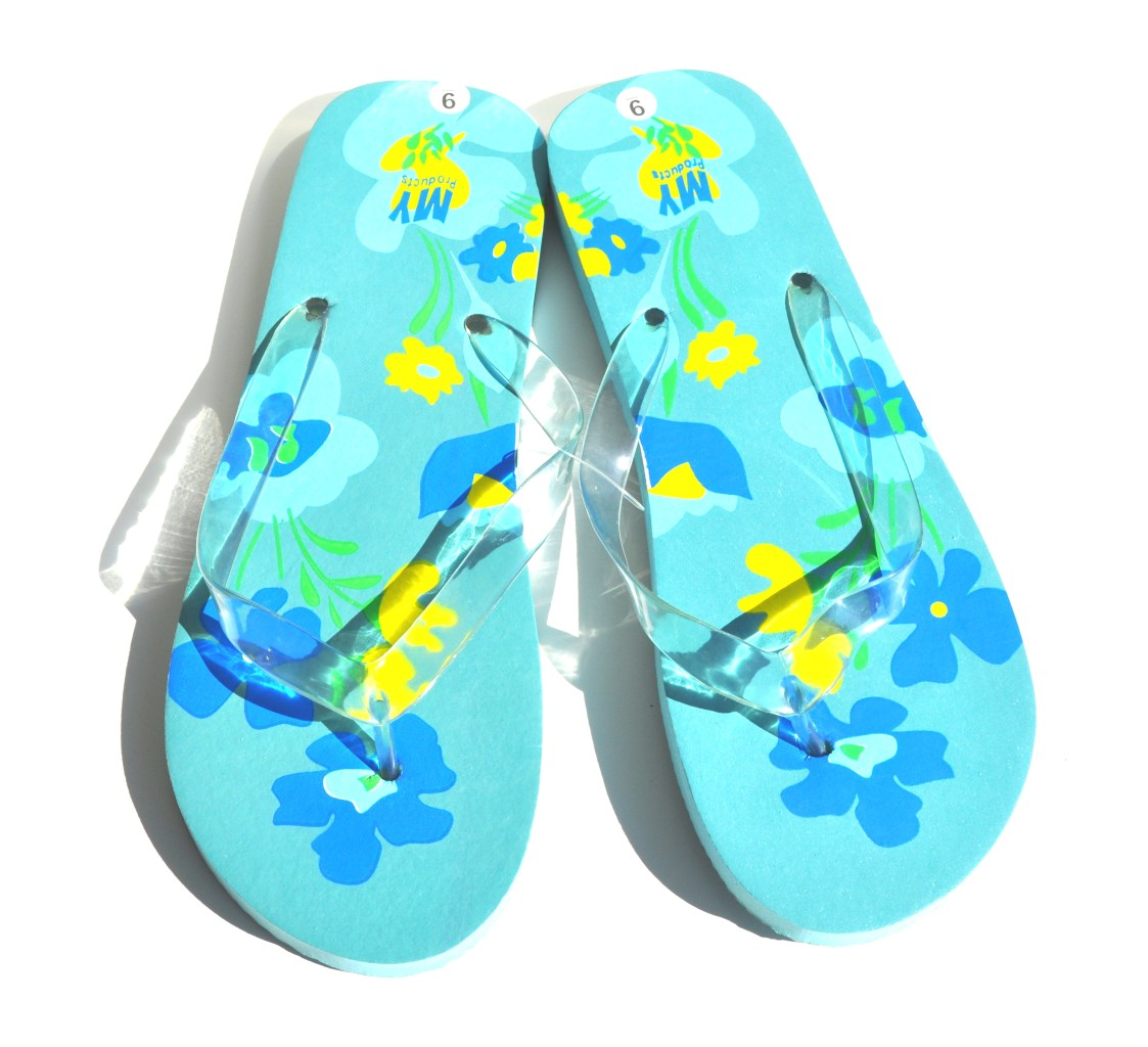 1442aaec801c0 Details about Light Blue Hawaiian Flowers Women Beach Flip Flops (Retail   38)