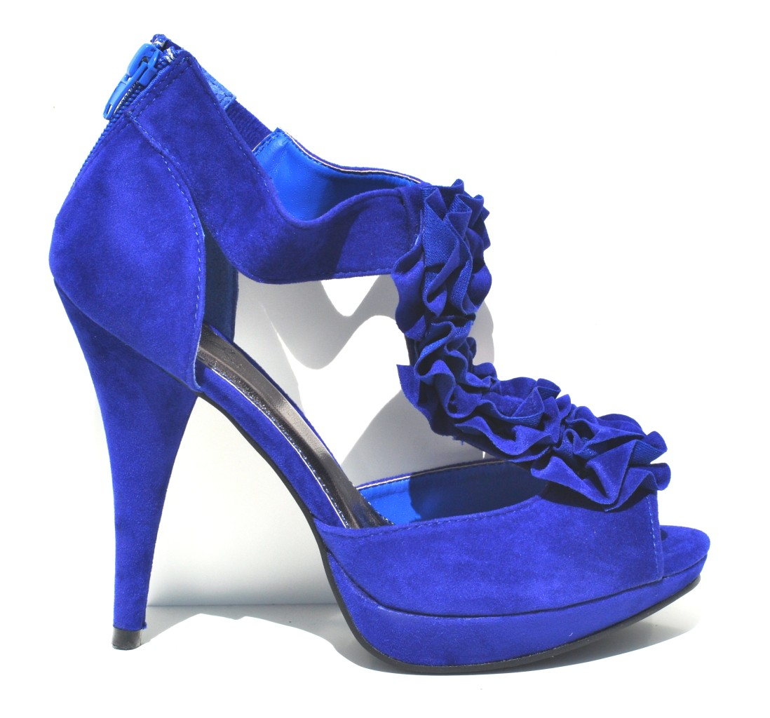 qupid royal blue velvet womens high heel slingback