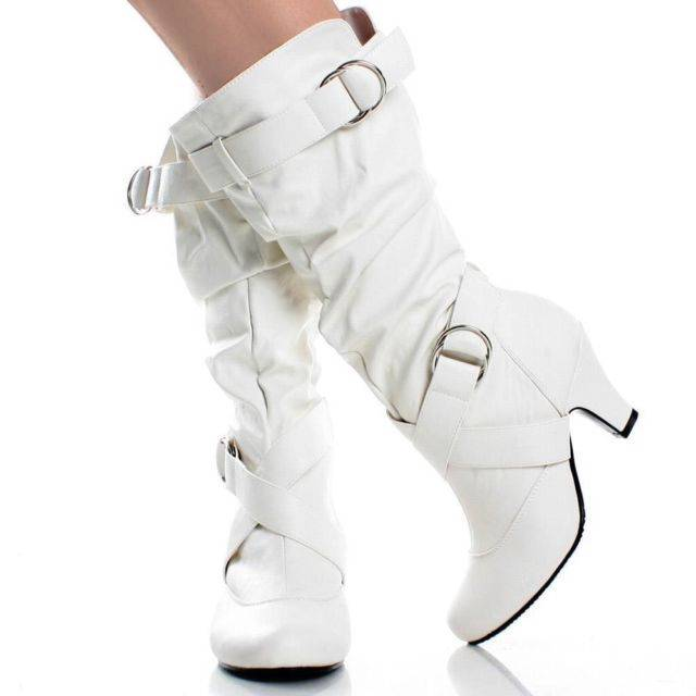 Details about New Sexy Womens Mid Calf Faux Leather White High Heel Slouch  Boots 8a3d28fbf566