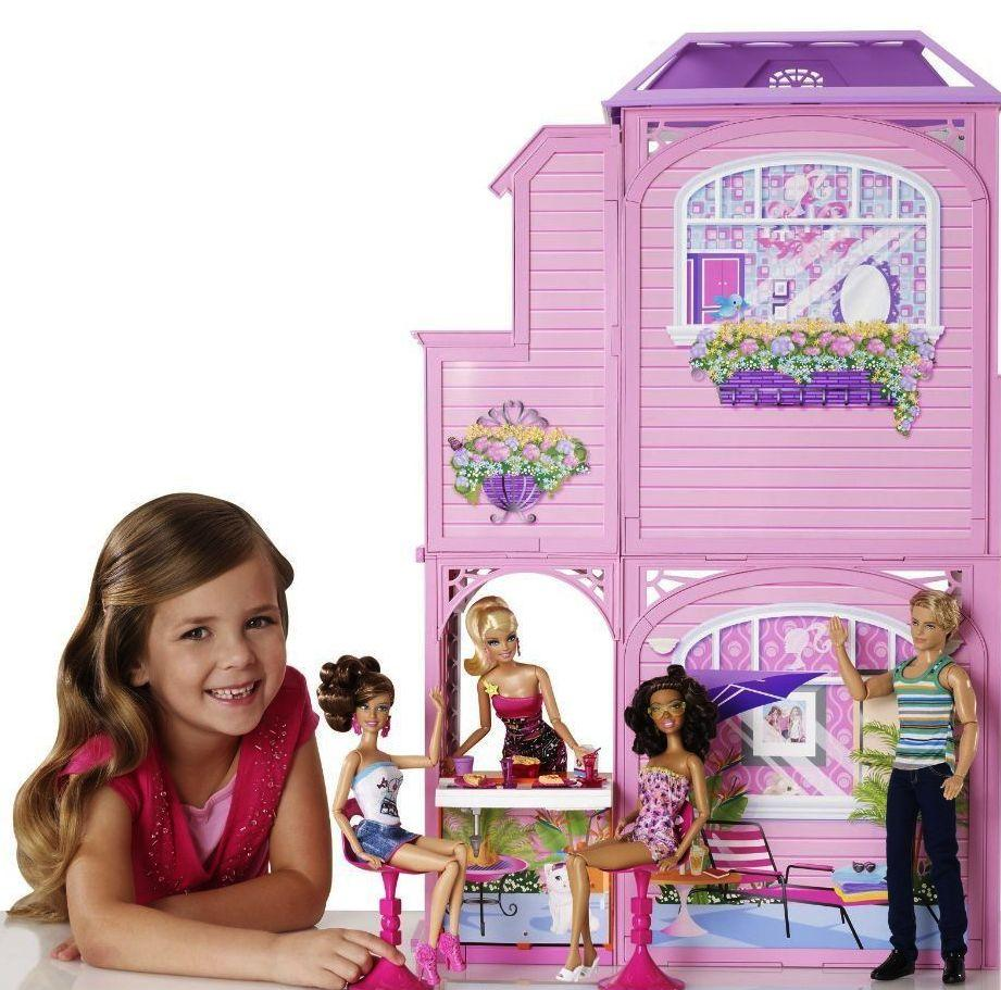 2 Story Barbie Beach House: NEW BARBIE 2 STORY DOLLHOUSE VACATION BEACH DOLL DREAM