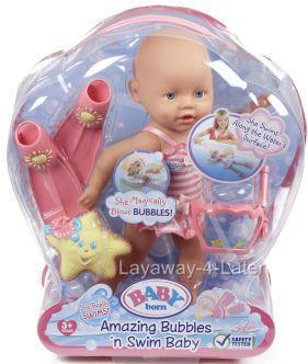 Mga Zapf Creations Unopened Baby Born Bubbles N Swim Doll