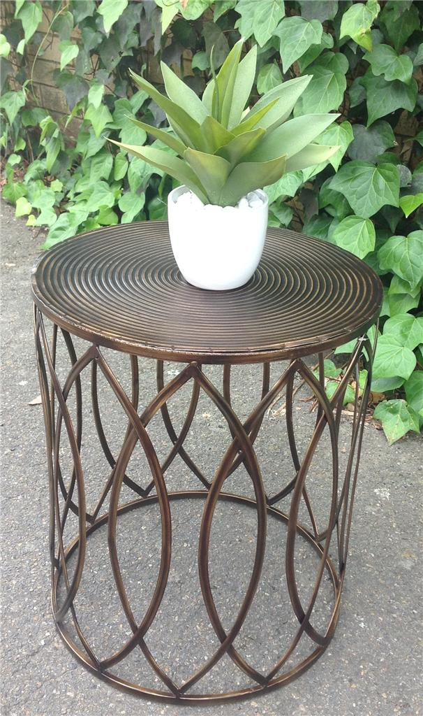 NEW Industrial Retro Bronze Metal Drum Round Side Table