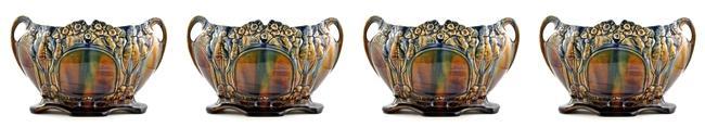 2156 Belgian Art Nouveau Majolica Planter Ca 1900 Ebay