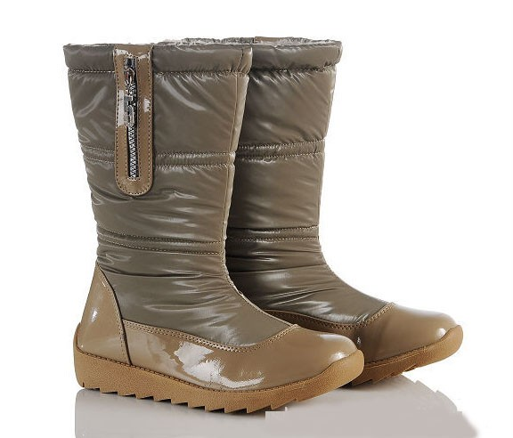 PU Leather Zip CZ Womens Mid Calf Winter Snow Boots Shoe
