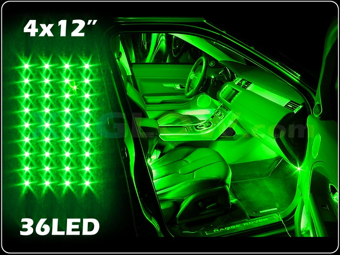 """Neon Car Lights: GREEN 4x12"""" LED UNDER GLOW INTERIOR CABIN ACCENT NEON"""