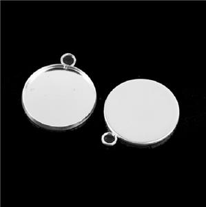 Silver Plated Pendant Settings light weight thin 25 mm cabochon tray 10 pack