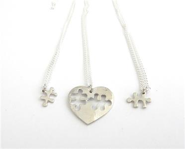Heart Puzzle Piece 3 necklaces large heart with two fitting pieces mum children