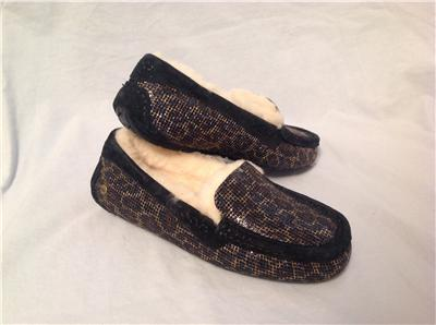 5849a88319e Details about UGG AUSTRALIA WOMENS ANSLEY GLITTER LEOPARD BLACK GOLD  SLIPPERS MOCCASIN SIZE 6