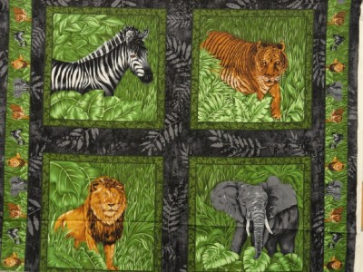 New African Animals Fabric Pillow Panel Lion Tiger