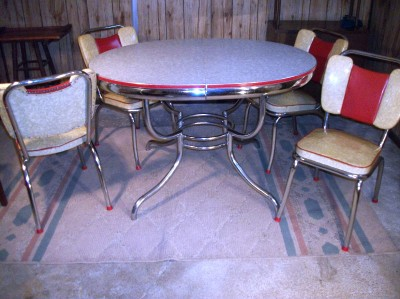 rare vintage formica chrome retro art deco kitchen table chairs 1950s modern. Black Bedroom Furniture Sets. Home Design Ideas