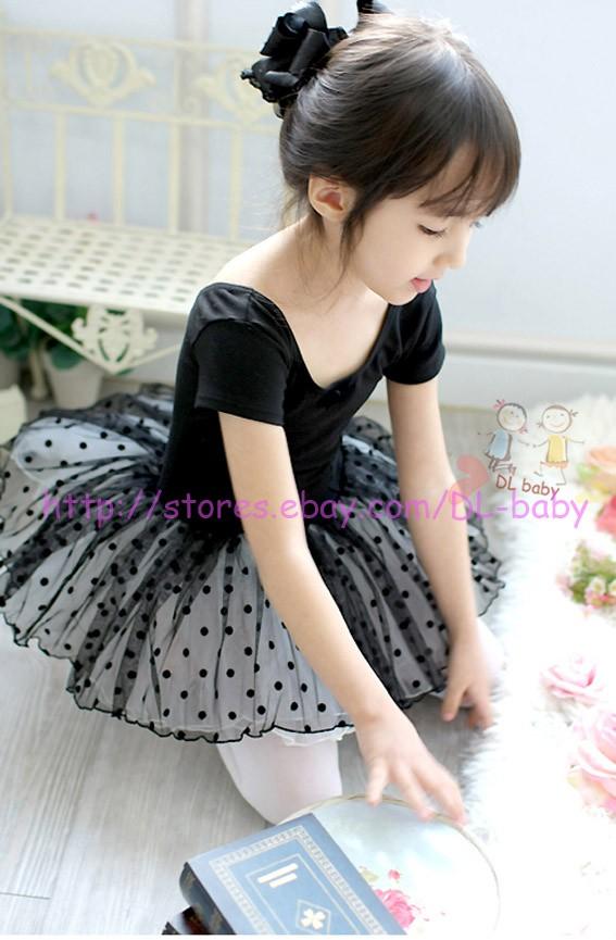 Black Girl Party Leotard Ballet Tutu Button Crotch Costume Dance Dress 2 7 Yrs