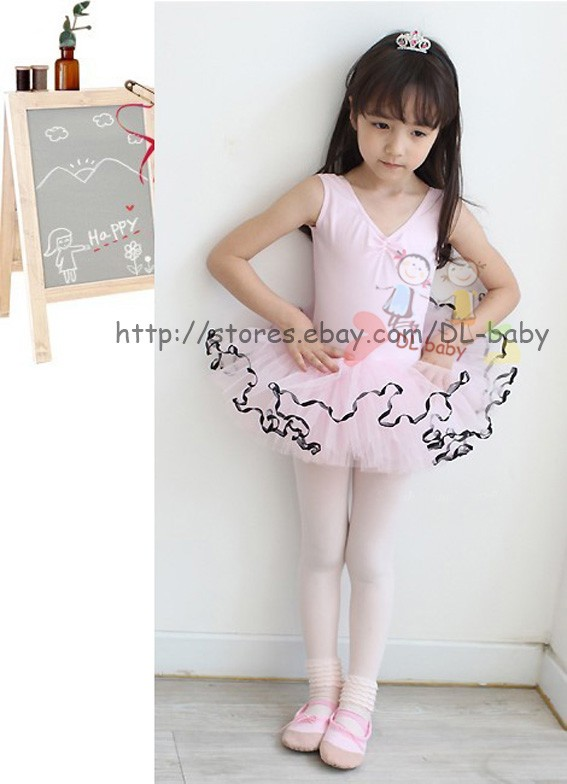 Child toddler Pink girl Dance Leotard Ballet Tutu Skirt Dress 3 8 yrs