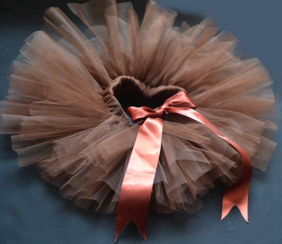 Brown Party Costume Ballet Kids Dancing Girl Toddler Child Baby Tutu Skirt