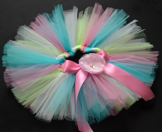 Rainbow Party Costume Ballet Dancing Girl Toddler Child Baby Tutu Skirt 6 12 M
