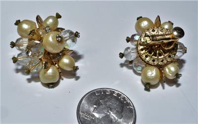 Signed Vendome Faux Lapis Faux Pearl Gold Tone Dome Earrings