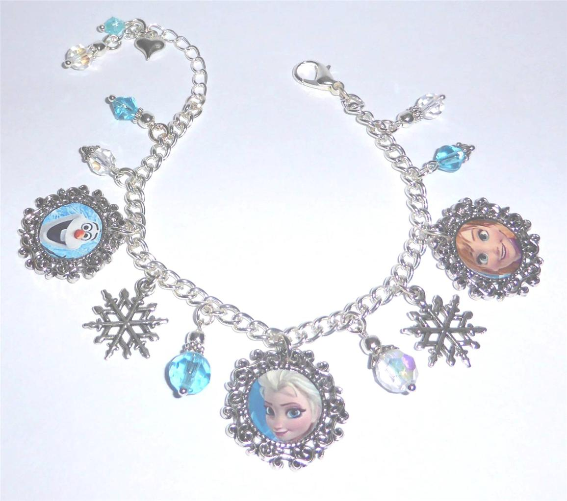 Snowflake Charm Bracelet: Disney Frozen Elsa Anna & Olaf Snowflake Crystal Charm