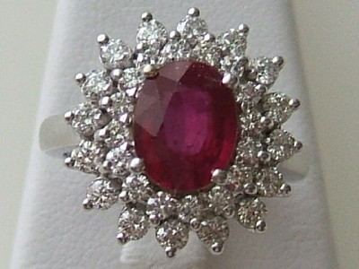 14k White Gold Oval Ruby Amp Diamond Cluster Cocktail Ring