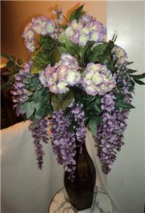 Violet Wisteria Bush Hydrangea Floral Arrangement By