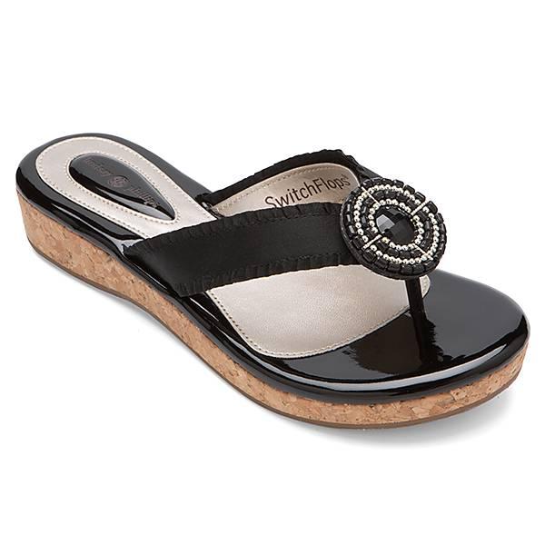 Ladies Black Patent Wedge Shoes