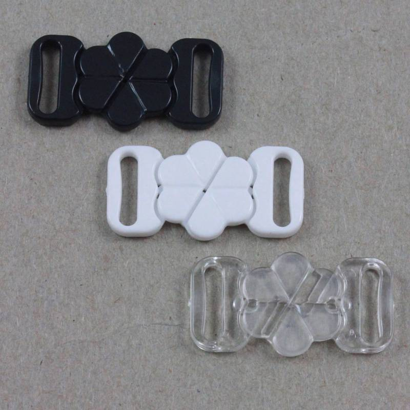 Clear Plastic Bikini Fasteners Clasps 10mm Set of 2 Pairs