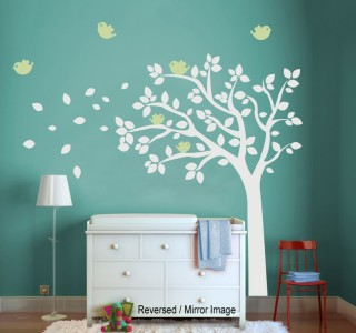 Baby Nursery Wall Decal Tree with Birds   Removable Vinyl Wall Decal