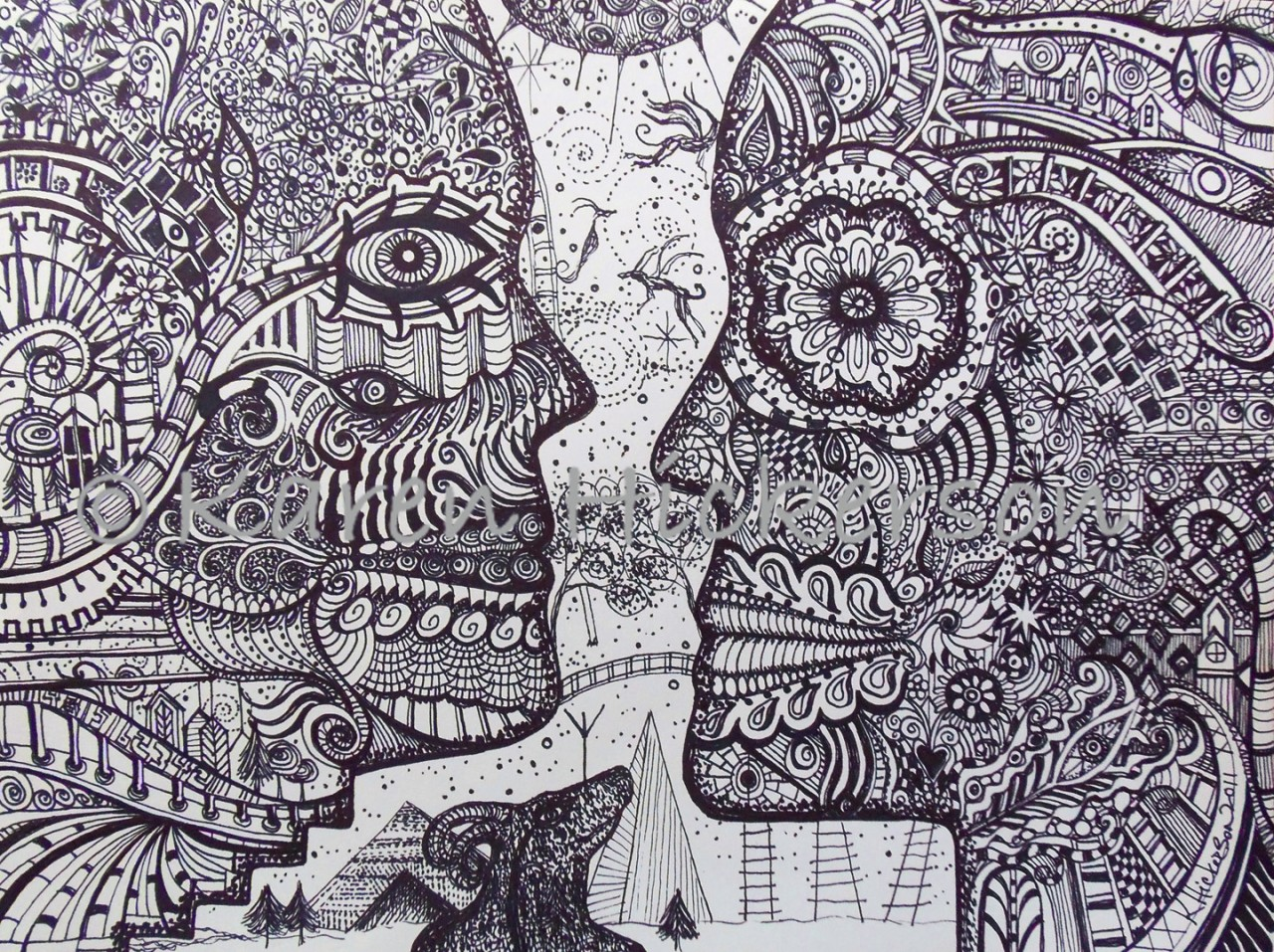 karen hickerson pen and ink drawing outsider art abstract print like dali escher. Black Bedroom Furniture Sets. Home Design Ideas