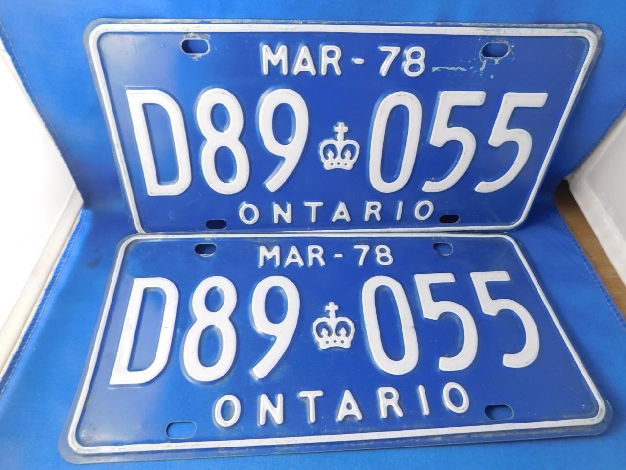 ONTARIO-LICENSE-PLATE-1978-MARCH-D89-055-LOT-SET-VINTAGE-CANADA-CLASSIC-CROWN