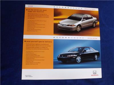 honda cars sales brochure flyer special edition accord sedan coupe 2002 ebay. Black Bedroom Furniture Sets. Home Design Ideas