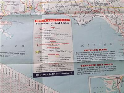 Details about EASTERN UNITED STATES MAP ADJACENT CANADA INTERSTATE ESSO  ADVERTISING 1957