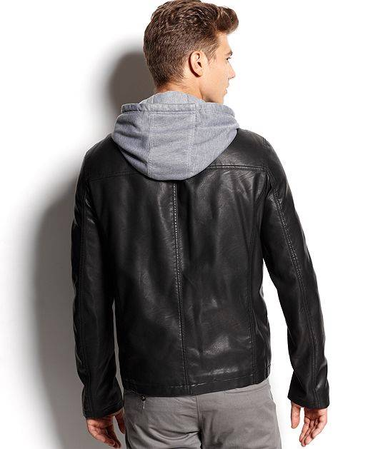 Levis Mens Jacket Faux-Leather Knit-Hoodie $200 NWT | eBay