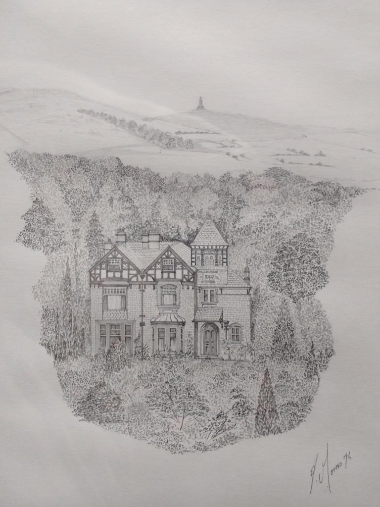 Details about fine original 20th c pencil drawing of a countryside house signed morris 75