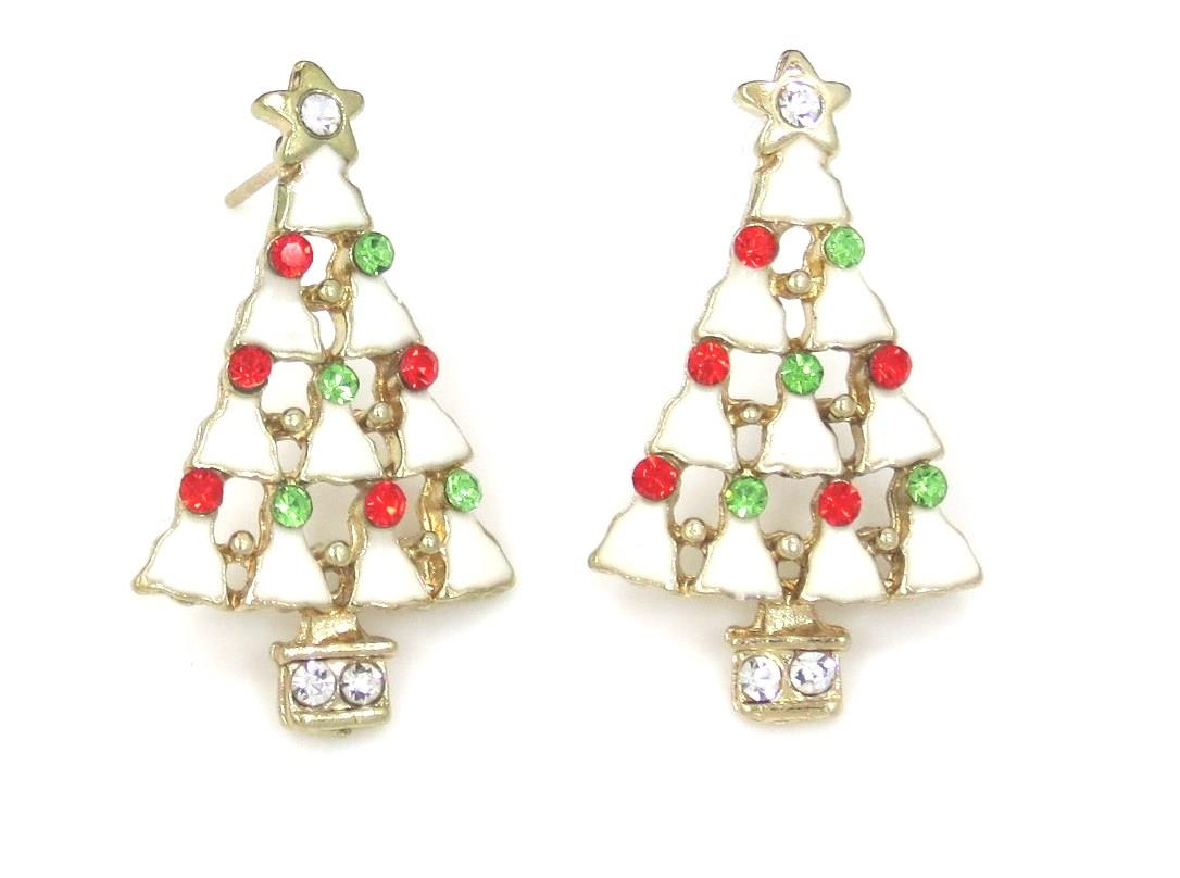New X'mas Tree Red White Green Stud Earrings Christmas