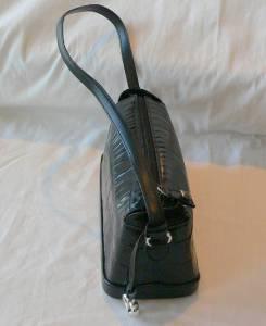 Brighton Black Croc Embossed Leather Shoulder Hand Bag