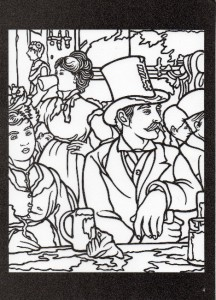 Impressionist art stained glass coloring book and raffine for Impressionist coloring pages