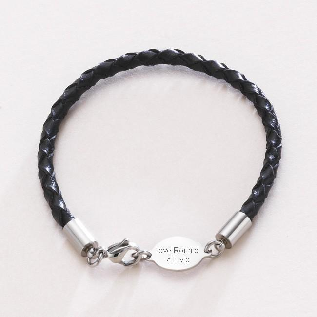 personalized name man bracelet bracelets leather for engraved boys unisex