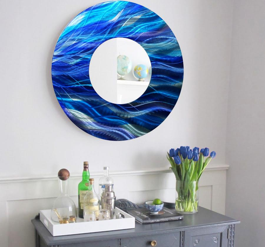 Large Round Blue Metal Mirror Wall Art Home Decor Accent