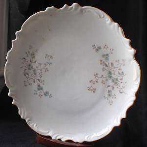 Antique Carlsbad Csm China Austria Turquoise Blue Flowers 10 Quot D Serving Plate Ebay
