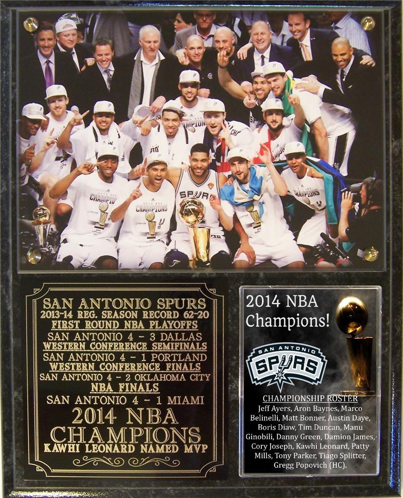 San Antonio Spurs 2014 NBA Champions Photo Plaque Tim