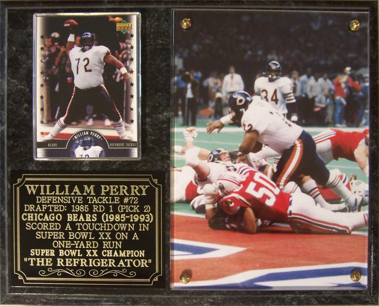 William Perry Photo Card Plaque Chicago Bears Super Bowl