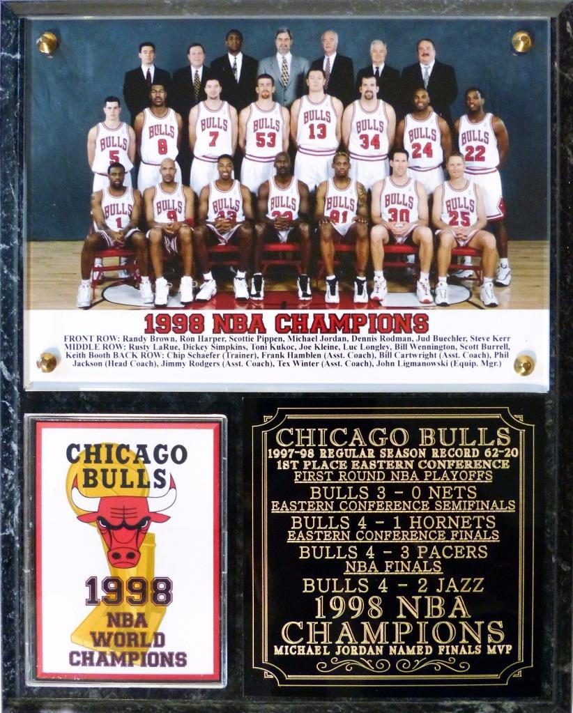 Chicago Bulls 1998 NBA Champions Photo Plaque Michael