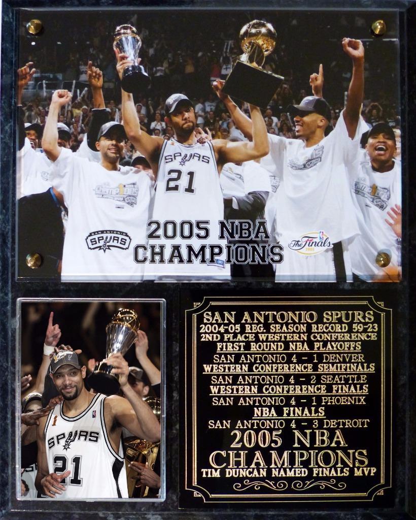 San Antonio Spurs 2005 NBA Champions Photo Plaque Tim