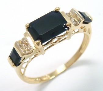 STUNNING 10KT YELLOW GOLD SAPPHIRE & DIAMOND RING SIZE 8