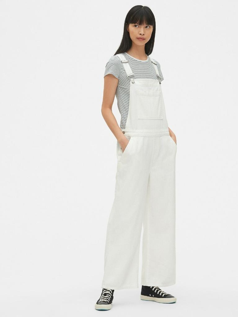 sale online arriving exclusive range Details about New Gap Wide Leg White Denim Overalls Jeans Sz Medium #440886  NWT